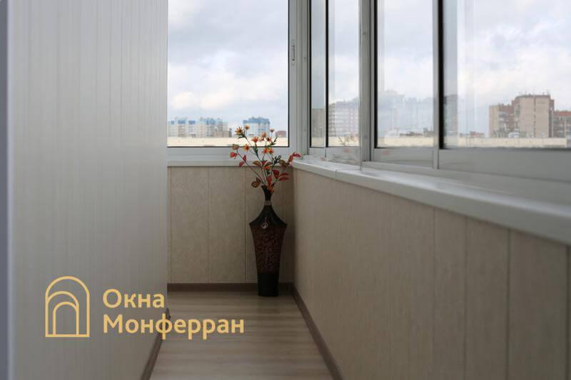 Остекление и отделка углового балкона пр. Гражданский