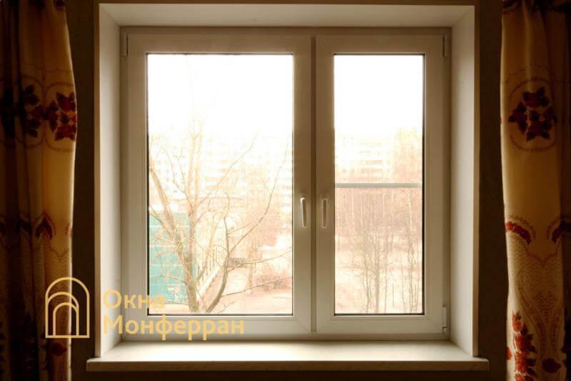 Двустворчатое пластиковое окно в 504 серии, пр. Луначарского