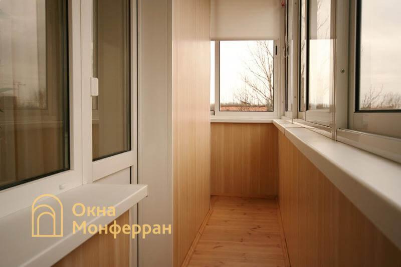 Остекление и отделка углового балкона в брежневке, ул. Лени Голикова