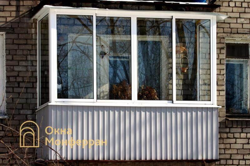 Холодное остекление балкона в кирпичной хрущевке, ул. Дивенская