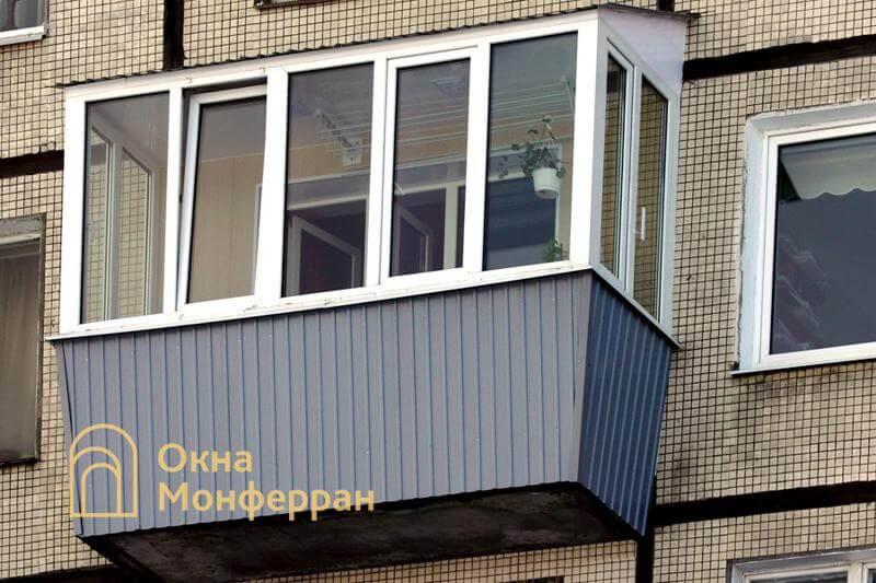 Остекление балкона с выносом подоконника в 606 серии, ул. Вавиловых