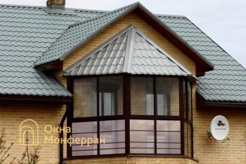 35 Остекление балкона с крышей из металлочерепицы пос Невская Дубровка