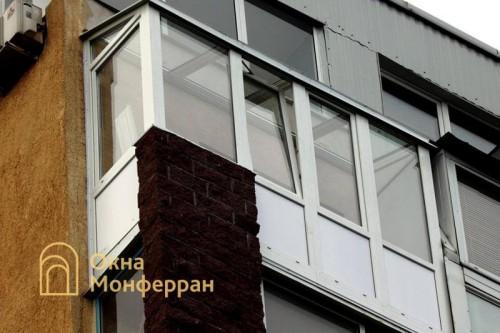 13 Остекление балкона с крышей из стеклопакетов ул Ольминского