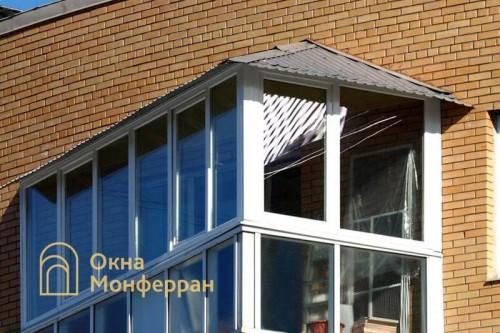 20 Остекление балкона с двускатной крышей ул Пулковская