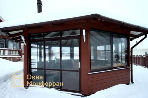 09 Холодное раздвижное алюминиевое остекление веранды пос Подгорье