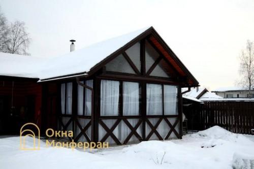 10 Холодное раздвижное алюминиевое остекление веранды гор Пушкин